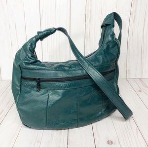 Handbags - Leather Teal Green Boho Hobo Style Purse Bag